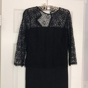St. John designer black lace midi dress